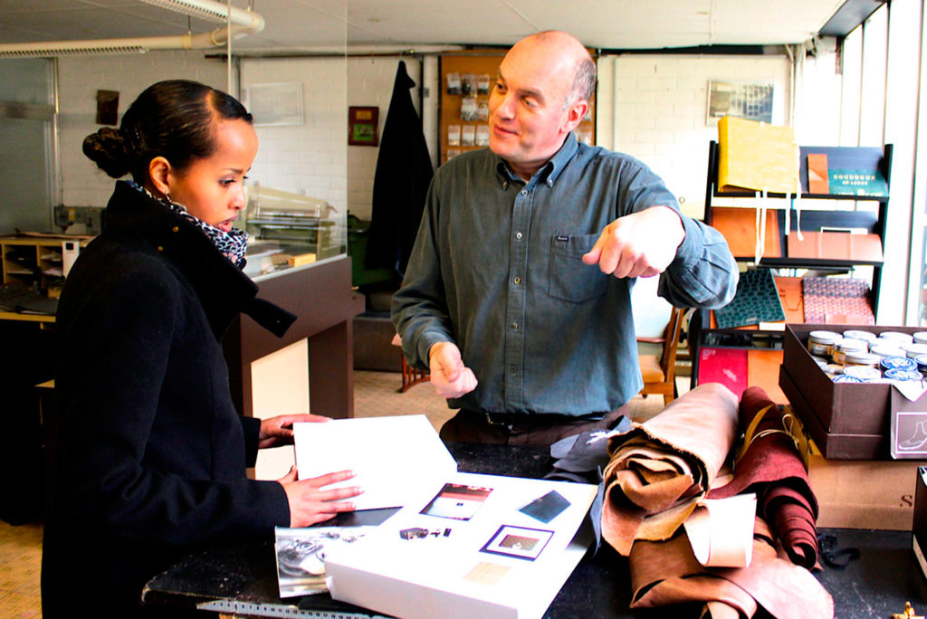 Guy Reyne in his leather atelier in Ghent in Belgium selecting leather for Puredistance
