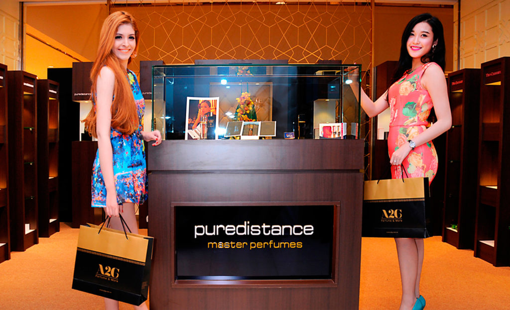 Puredistance Master Perfume collection presentation in a luxury perfumery in Hanoi