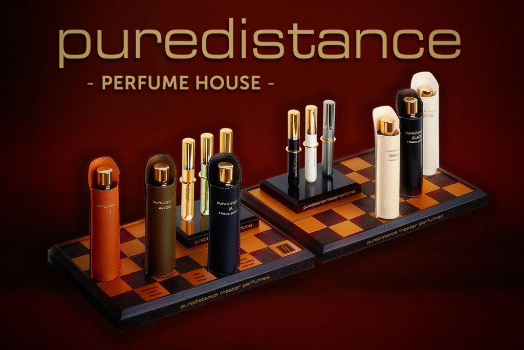 Puredistance Master Perfume Collection presented on our chessboard display which was designed inhouse
