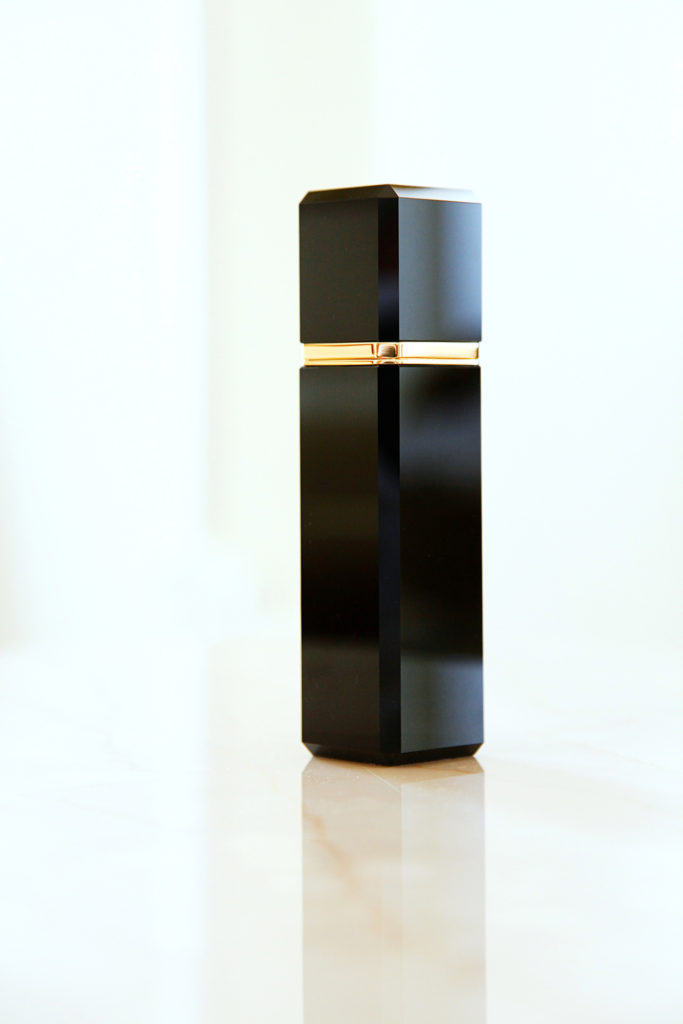 Exclusive Puredistance black crystal and gold Perfume column made by Swarovski in a limited edition