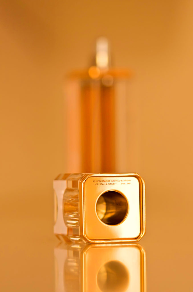Exclusive Puredistance clear crystal and gold Perfume column made by Swarovski in a limited edition