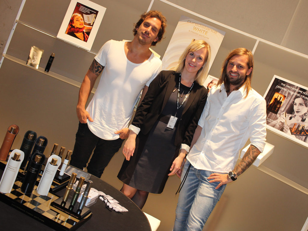 Nele Tammiste with Domas and Aivaras of Perfume boutique Crime Passionel