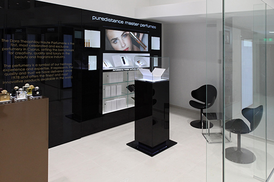 Exclusive Puredistance store in a store in Perfumery Dora Theophilou in Cyprus