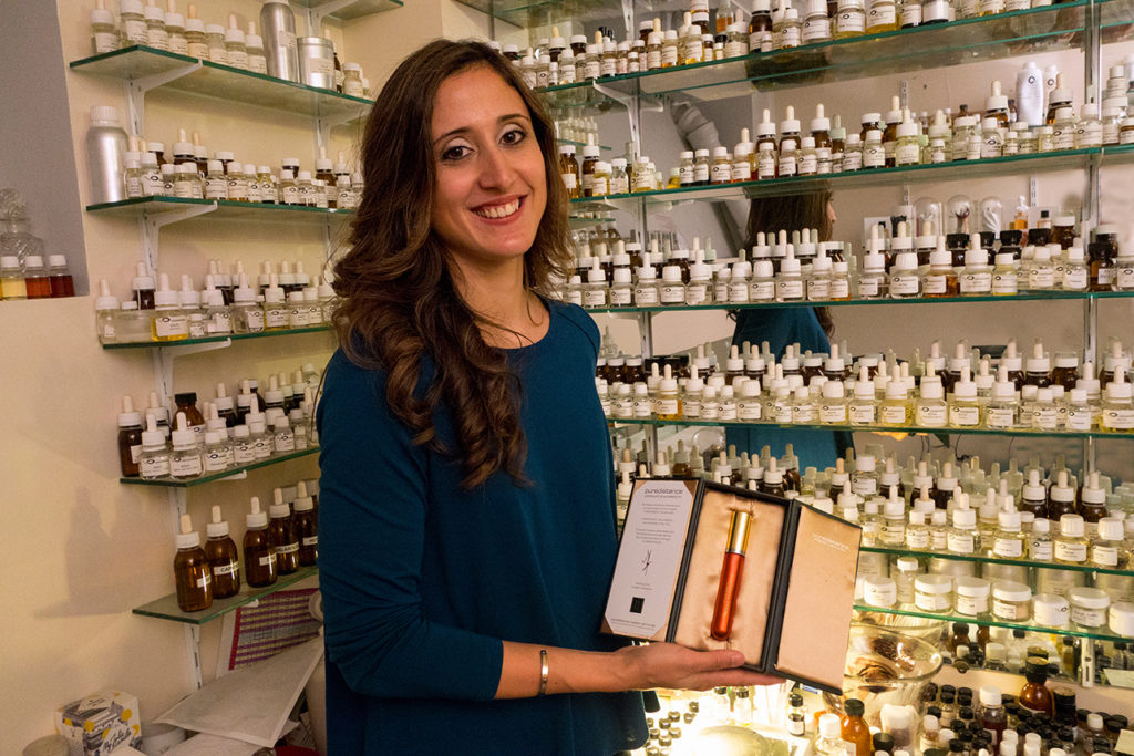 Parisian Perfumer Cécile Zarokian holds the first sample flacon of SHEIDUNA Perfume
