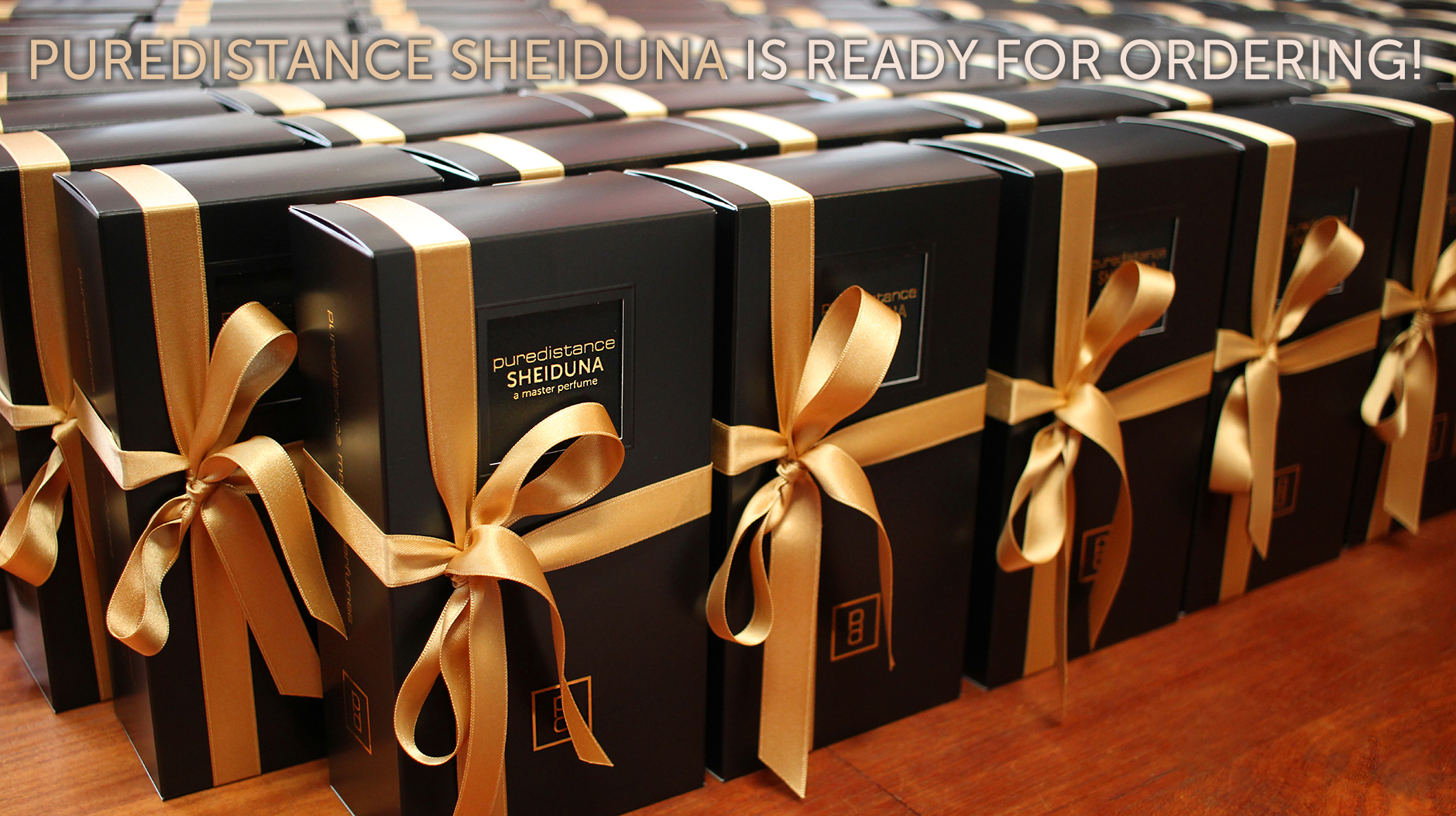 puredistance sheiduna packages ready with ribbon