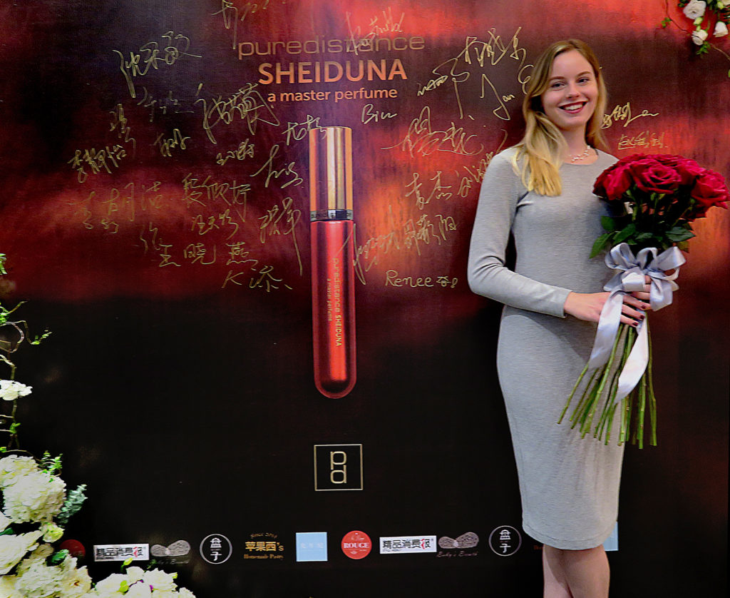 tamara vos presenting the new sheiduna perfume in kunming in china
