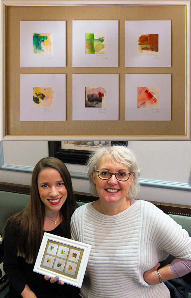 Mary Gooding of Puredistance, with Sabine Cornic of Iridescents blog holding a mini-version of her works of art!