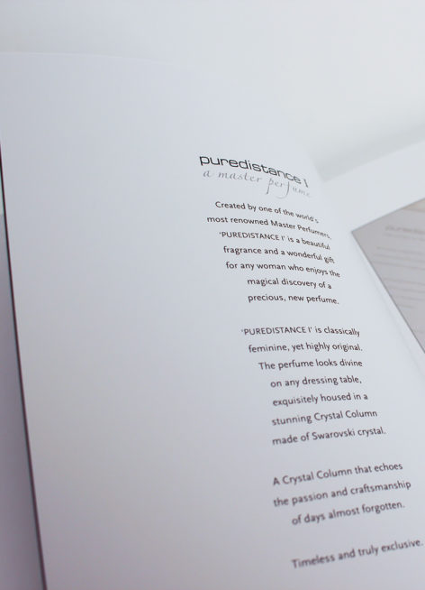 The first page of the Puredistance Linen Book..